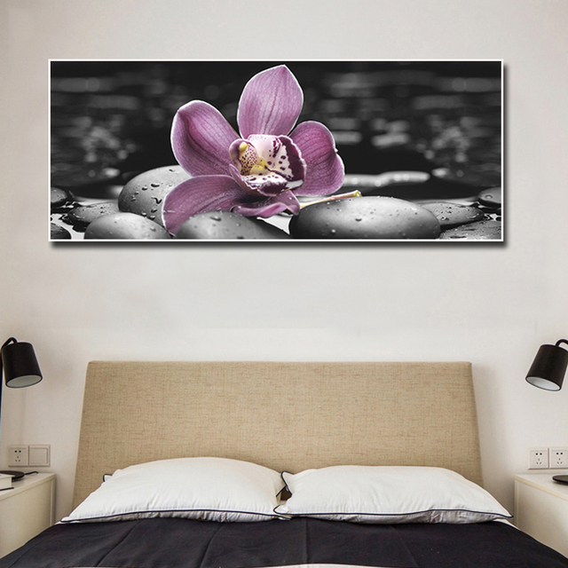 Large Canvas Wall Art Painting Orchid And Black Stone Prints ...