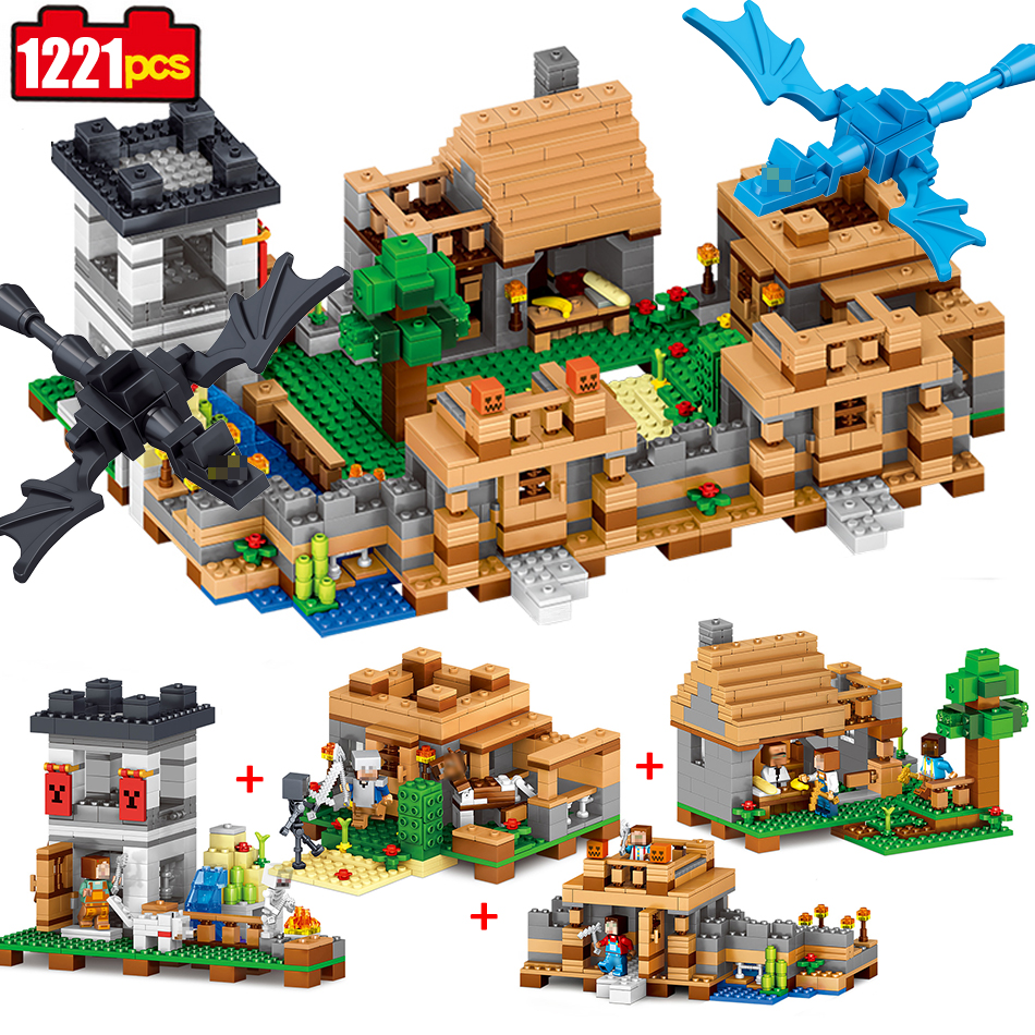 1221 pcs 4in1 Dream village Building Blocks Compatible Legoed Minecrafted city figures Educational DIY Bricks toys for children qunlong toys compatible legos minecraft city model building blocks diy my world action figures bricks educational boy girl toy