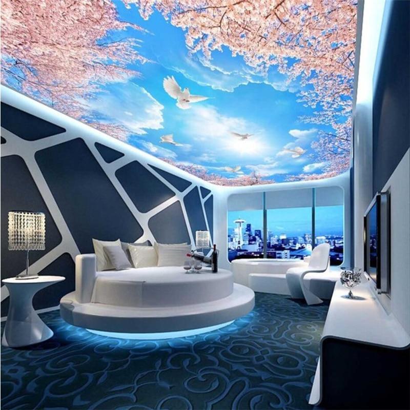 beibehang Custom Wallpaper Home Decorative Mural Blue Sky White Cloud Sakura Tree 3D Zenith Mural photo 3d wallpaper for walls blue sky чаша северный олень