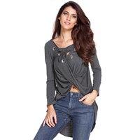 Women Lace Up Causal Shirts Tops Gray Criss Cross Irregular Long Sleeve T Shirts Lady Black