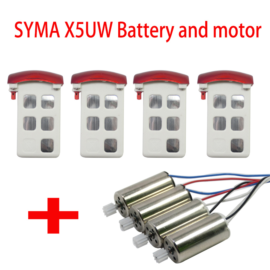Syma X5UC X5UW RC Drone Spare Parts 4 Pieces Original Li-po Batteries And 4 PCS Motor 2A+2B For SYMA Helicopter Accessory  syma s5 rc helicopter spare parts motor a