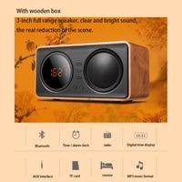 Hot Sale Wood Vintage TF Card AUX Play FM Bluetooth Mini Radio Wireless LED Alarm Clock Speaker Digital Display Despertador