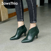 ZawsThia 2018 Autumn Winter V Cut Women Boots Solid European Ladies shoes Martin booties PU Leather ankle boots Thin High Heels