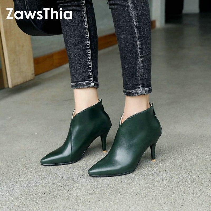 ZawsThia 2018 Herbst Winter V Cut Frauen Stiefel Solide Europäischen Damen schuhe Martin booties PU Leder stiefeletten Dünne Hohe heels
