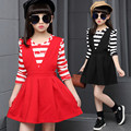 2016 Brand Girls 2 Pcs Dress Girls Autumn Spring Beautiful Party Striped T-shirt+Dress Girls School Lovely Dress Hot Sale