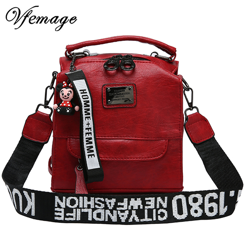 Vfemage Multifunction Bag Women Backpacks Female Small Messenger Crossbody Bags For Women Letter Ladies Shoulder Bag Purse Sac