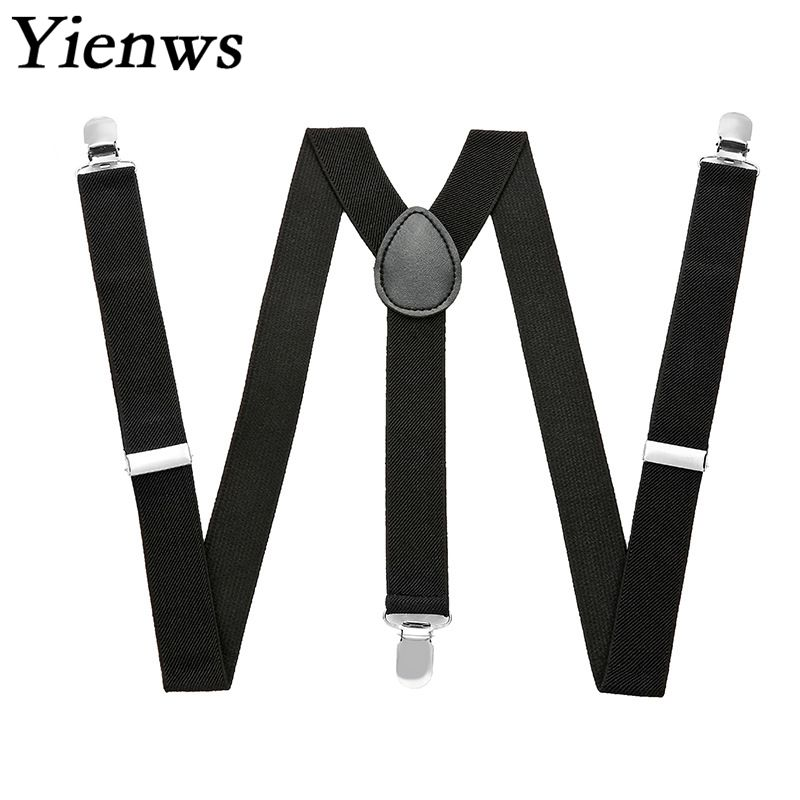 Yienws Plain Black Suspenders For Men Navy Red Burgundy Braces Unisex Strap Bretels Mannen Women Suspenders YiA024