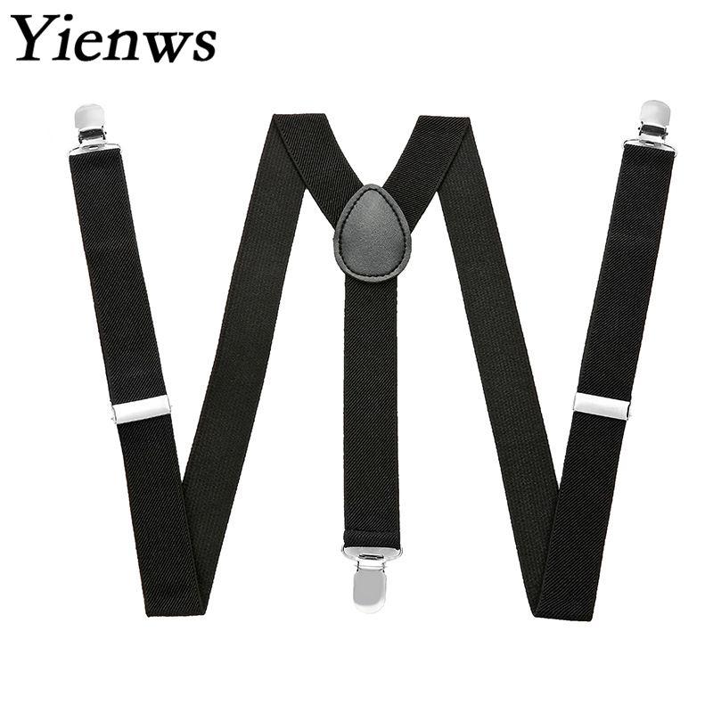 Yienws Plain Black Suspenders For Men Navy Red Burgundy Braces Unisex Strap Bretels Mannen Women Suspenders YiA024