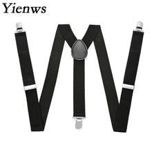 Yienws simples preto suspensórios para homens vermelho marinho borgonha cintas cinta unissex bretels mannen suspensórios femininos yia024