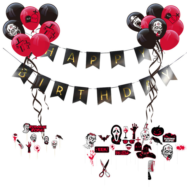 Red Black Spooky Zombie Theme Birthday Party Paper Decoration Kit