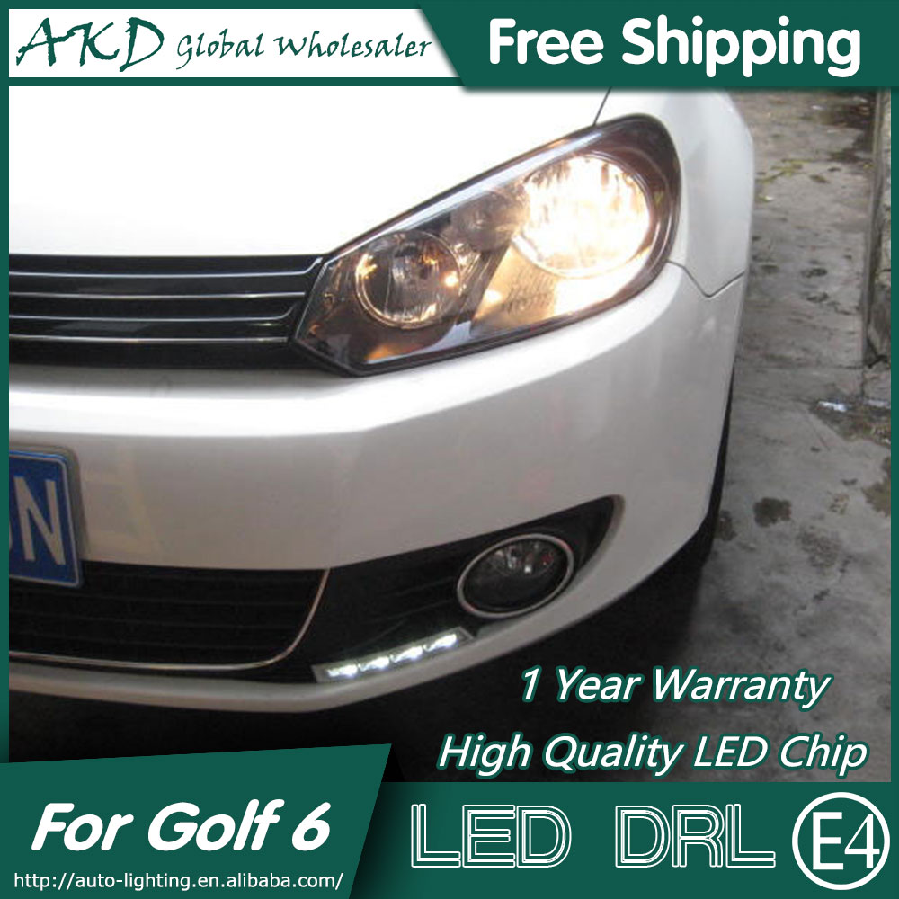 AKD Car Styling LED Fog Lamp for VW Golf 6 DRL 2009-2012 Golf6 LED Daytime Running Light Fog Light Signal Parking Accessories 2009 2011 year golf 6 led daytime running light