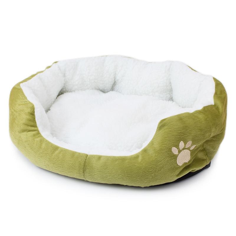 Anjing Pet Dog Cat Puppy Kitten Soft Blanket Doggie Warm Bed Mat Paw Print Cushion White