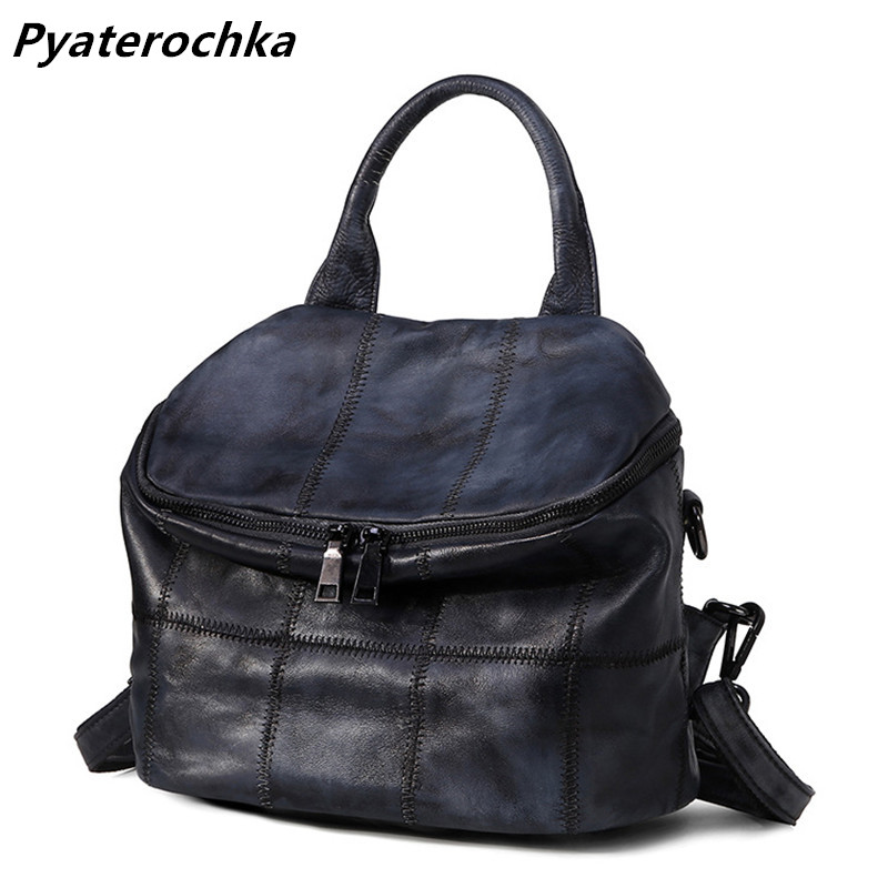 Pyaterochka Women Genuine Leather Backpack Vintage Fashion Korean Style Bag Pack Famous Brand 2018 Ladies Luxury Casual Back Bag