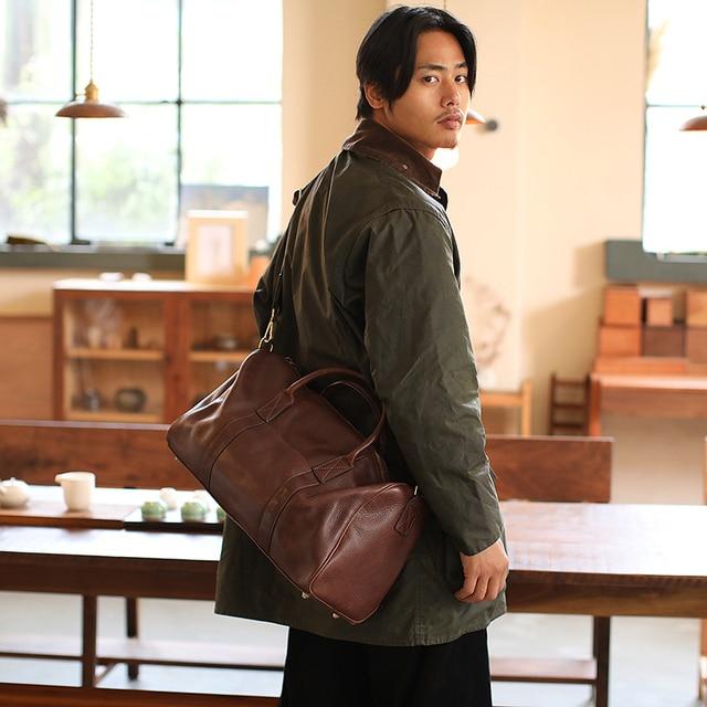 LANSPACE men's leathe travel bag fashion leather luggage fashion large size handbag 2