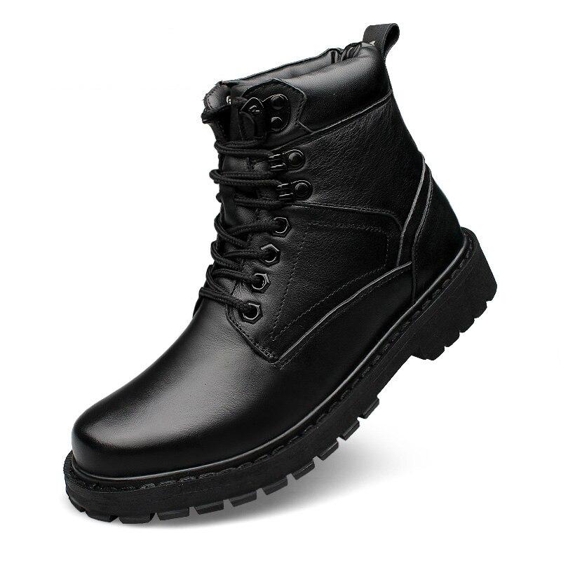 อังกฤษแฟชั่นบุรุษสีดำขนาดใหญ่ของแท้หนังฝ้าย   เบาะฤดูหนาวหิมะรองเท้าบูทข้อเท้าทหาร boot sapatos-ใน บูทลุยหิมะ จาก รองเท้า บน   1