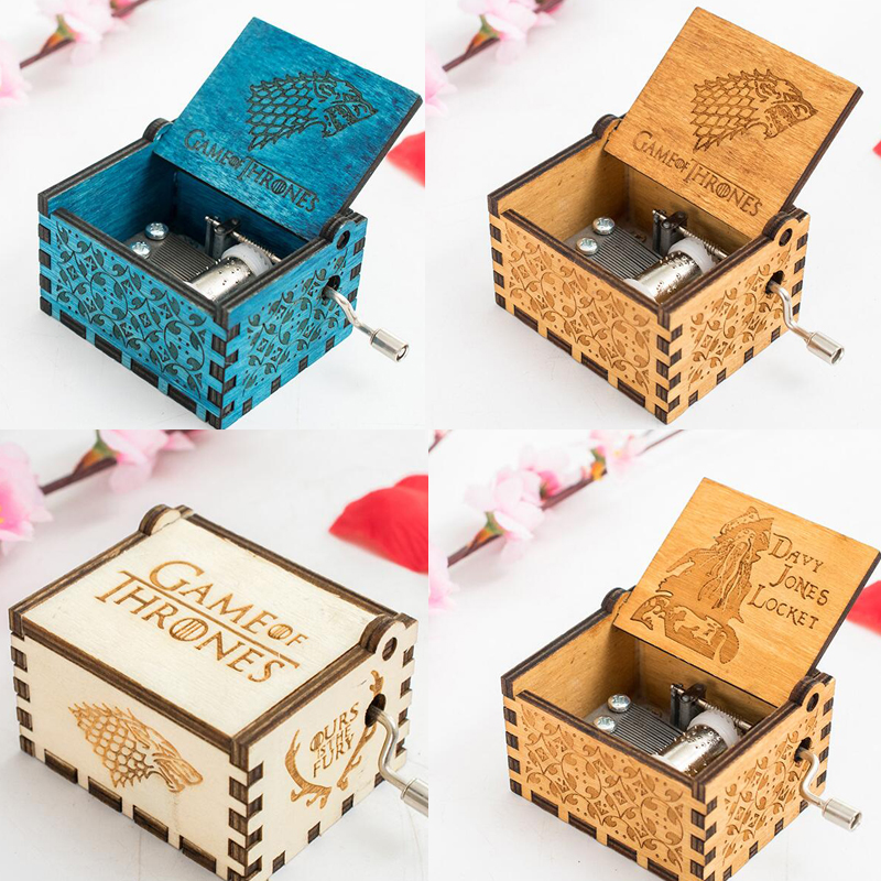 Wooden Game of Thrones Music Box Toys House Stark Music Box Godfather Beauty and beast Moana Star Wars Music Instruments Toys antique carved wood star wars game of thrones music box hand crank theme music welcome to sell friends cooperation