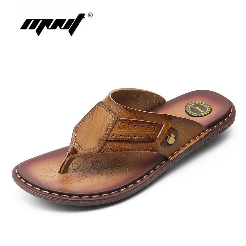 Cow Leather Beach Men Slippers Flip Flops With Soft Sole Trendy Breathable Men Summer Shoes Fashion Beach Sandals Shoes Men 2016 summer new men s massage sole flip flops personality simple slippers breathable fashion beach shoes size 40 44 b1953