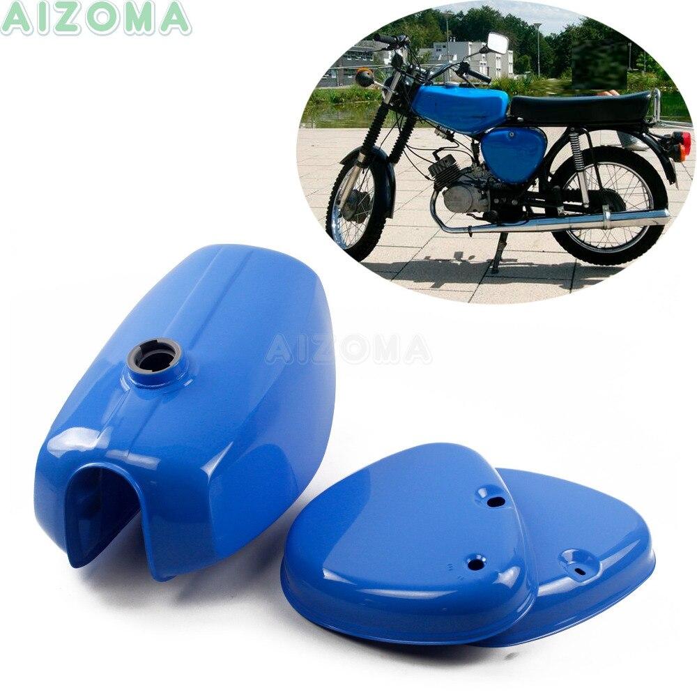 Bleu moto rétro personnalisé banane forme réservoir de gazole avec 2 pièces couvercle latéral en acier réservoir de carburant Kit pour Simson S50 S51 S70 (191972)