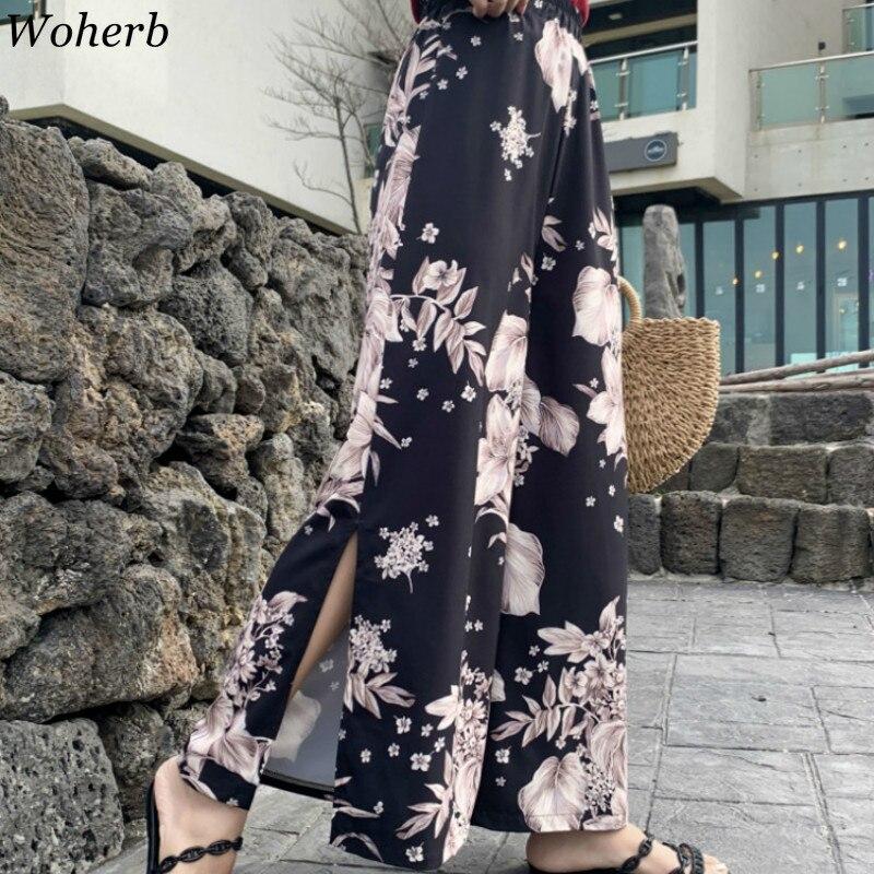 Woherb 2019 Chiffon High Waist   Wide     Leg     Pants   Vintage Floral Print Split Side   Pant   Summer Casual Loose Pantalon Femme 22205