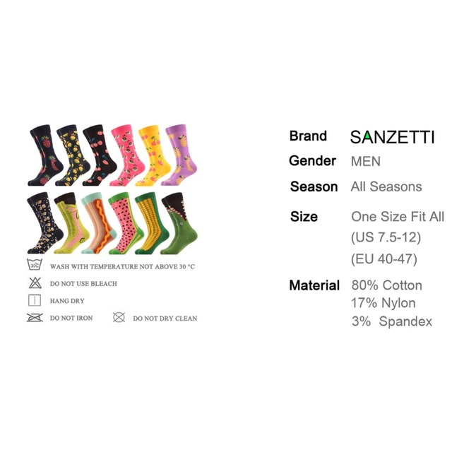 SANZETTI  12 pairs/lot Gift Box Men's Novelty Fruit Funny Socks Colorful Combed Cotton Corn Space Man Watermelon Colorful Socks  2