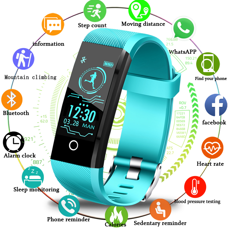 LIGE 2019 New Smart Wristband Heart Rate Fitness Tracker Men women Blood Pressure Oxygen Waterproof Sport Smart bracelet watch