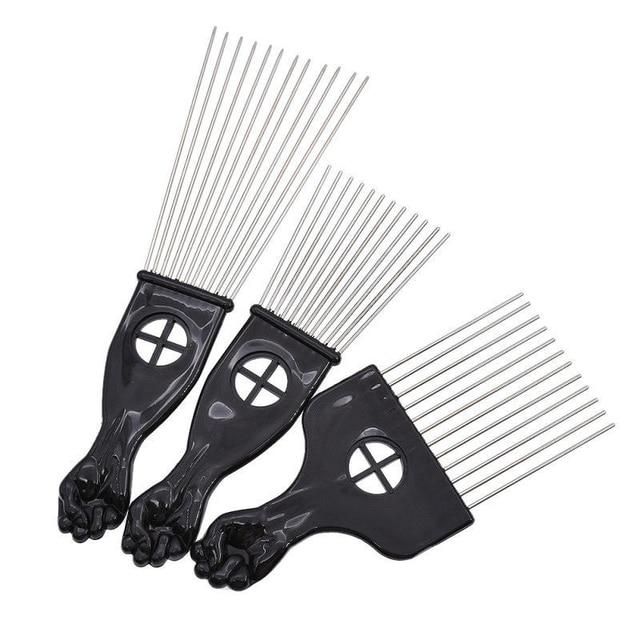 Mayitr 3 ขนาดสีดำ Fist Afro หวีโลหะแอฟริกัน Pik ผมแปรงหวี Salon Hairdressing ทรงผมเครื่องมือจัดแต่งทรงผม