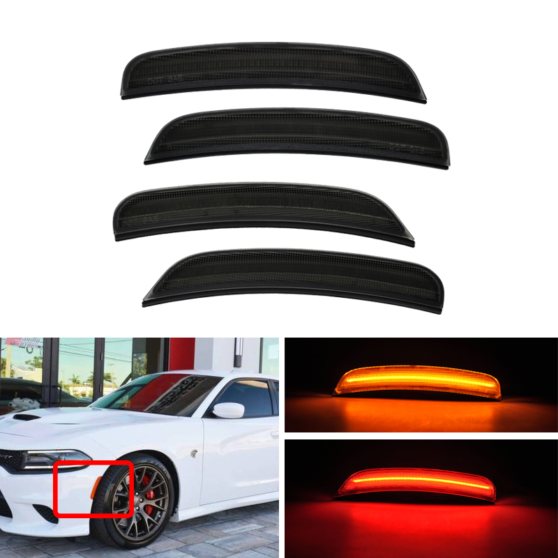 Pack CAN bus Front Side Marker Amber Rear Side Marker Red For Dodge Charger 2015 2016
