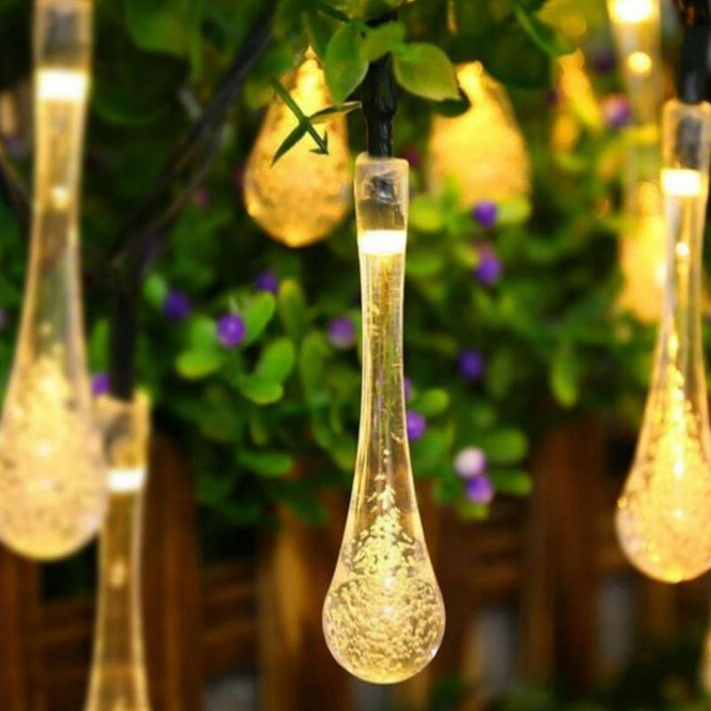 New 30 Led Solar Powered Water Drop String Lights Led