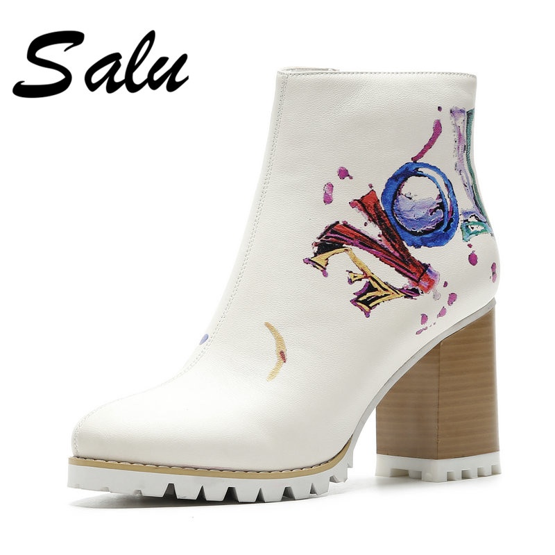Salu 2018 New Women Prints Ankle Boots High Heels Wedding Party Shoes Genuine Leather Short Boots