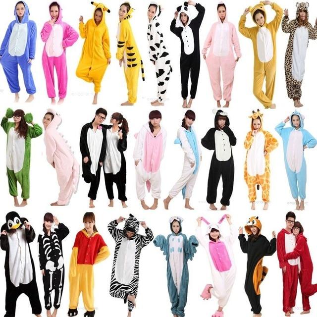 2018 HOT Animal Pajama Sets Unisex Adult Women Pyjama Unicorn Pajamas Cartoon Sleepwear Hooded Homewear Stitch Panda Koala Tiger