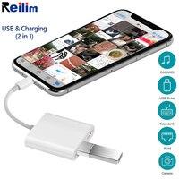 Reilim OTG адаптер для Apple к USB камера ридер адаптер для lightning iOS 13 разъем комплект кабель синхронизации данных для IPhone 6 7 8 X