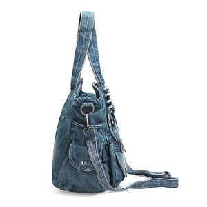 Image 3 - IPinee Saco Mulheres Da Forma Do Vintage Jeans Casual Denim Bolsa Da Senhora de Grande Capacidade Tote Weave fita Criativo Saco Do Mensageiro Do Ombro