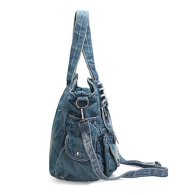 IPinee mode femmes sac Vintage décontracté Denim sac à main dame grande capacité Jeans fourre tout armure bande créative épaule Messenger sac-in Sacs à bandoulière from Baggages et sacs    3