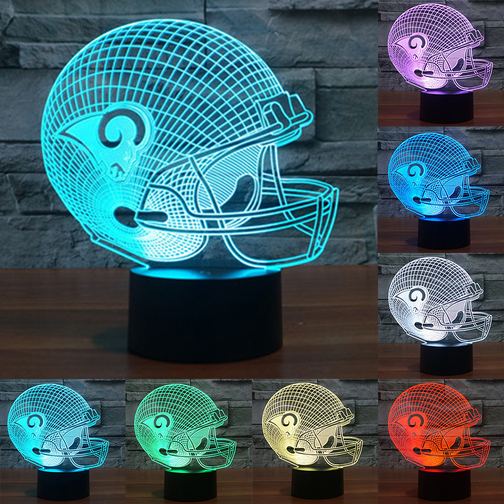 NFL St. Louis Rams 3D Helmet Night Light 7 Colors Change USB LED Table desk Lamp Touch Button Desk Lamp as kids Gift IY803695 2016 new 37mm badge circle cutter cutting size 49mm for making 37mm pin buttons