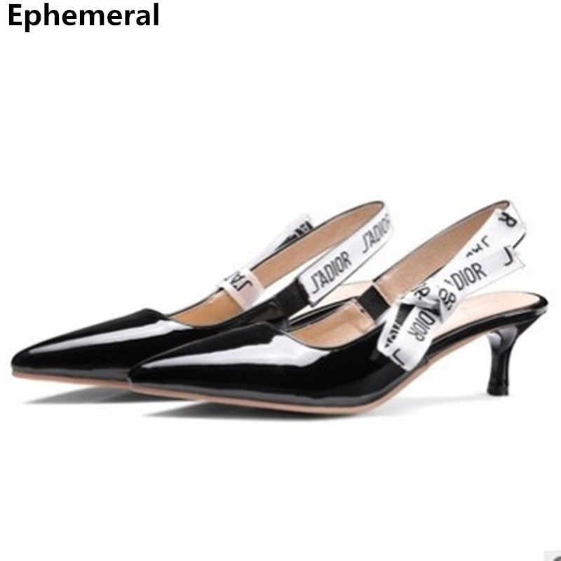 e4516556a Ladies Brand Shoes Back strap Lace-knot Pointed Toe Sandals Pumps Zapatos  Black White Pink