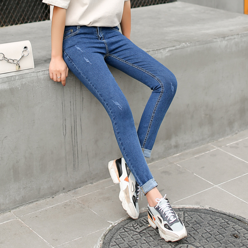 Women Jeans Fashion 2017 New Korean Blue Mid Waist Denim Trousers Sexy Woman Elasticity Skinny Casual Pencil Ankle-Length Pants jeans woman 2017 korean fashion skinny denim pants high waist double button sexy stretch capris trousers jeans mujer