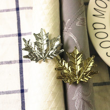 5PCS Maple Leaf Napkin Gold Silver Buckle Hotel Home Jewelry Tableware Table Decoration
