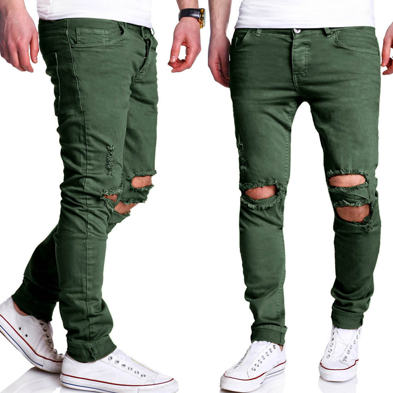 Straight Ripped Pants Men 2017 Brand New Hip Hop Green Skinny Jeans Men Slim Fit Biker Jeans Homme Casual Pants Trousers Men