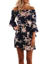 Yfashion Women Sexy Charming Off Shoulder Dress Elegant Lotus Leaf Edge Flower Pattern