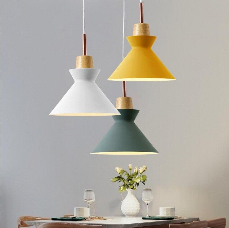 Modern Wood Dining Room Design Lights Pendant Lamp Art Pendant Lights Lamparas Colorful Iron lamp shade Luminaire For Home Light