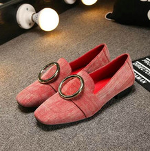 2016 Spring Women Flock Flats Fashion Metal Ring Upper Square Toe Ladies Casual Slip On Shoes High Quality Driving Loafers
