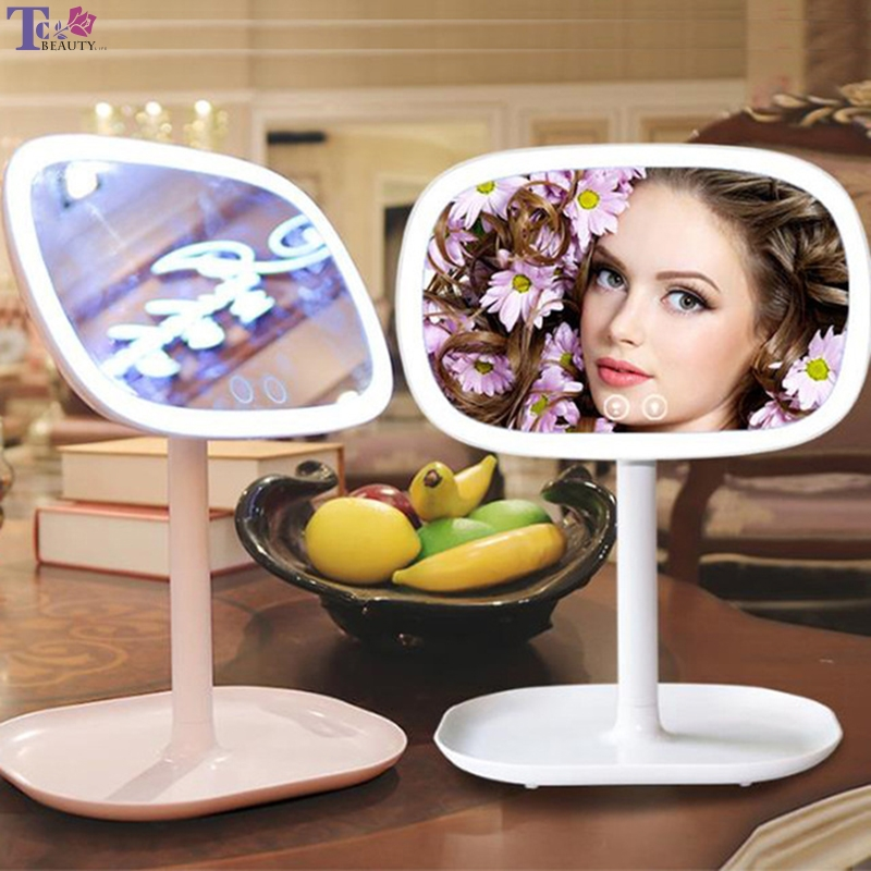 37led Makeup Mirror With Lights Table Lamp Smart Stepless Dimming Makeup Mirrors Princess Beauty Fill Light Cosmetic Mirror цены онлайн