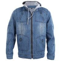 Fashion Autumn Winter Men Clothing Hooded Denim Jacket Outdoors Casual Jeans Coats Outerwear Blue XXXL