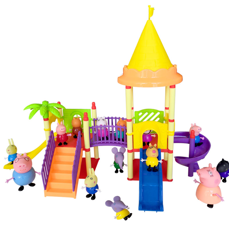 Best  toys Series of Amusement park Toys PVC Action Figures Family Member peppa pig Toy Baby Kid Birthday