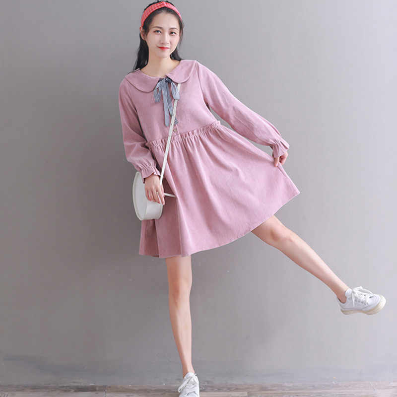 Autumn Winter Plus Size Dresses Women Baby Doll Style High ...