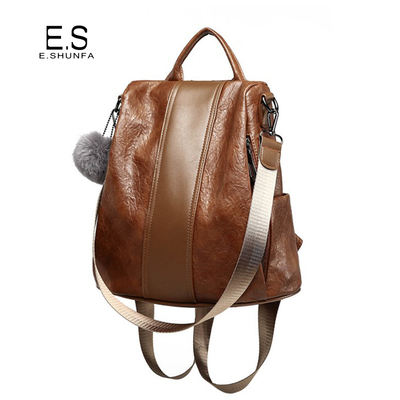 Casual Women Backpacks 2018 New Fashion Vintage PU Leather Backpack Black Brown High Quality Patchwork Backpack Woman Bag