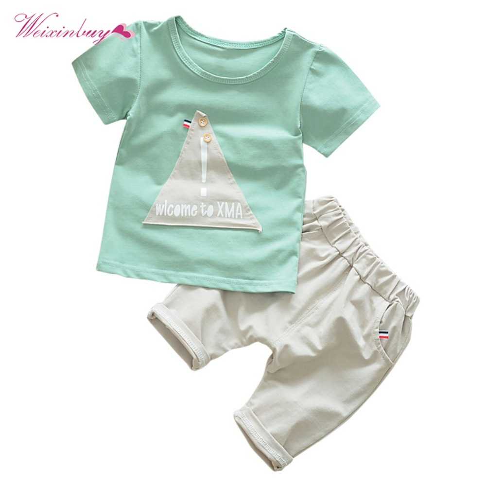 Baby Clothing Set 2PCs Baby Boys Clothes Set Summer T-shirt Tops + Casual Pants Children Cotton Clothing 2pcs children outfit clothes kids baby girl off shoulder cotton ruffled sleeve tops striped t shirt blue denim jeans sunsuit set