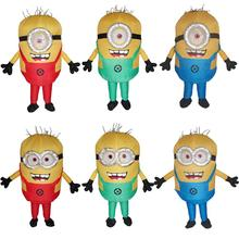 Women Men Inflatable Minion Costume Halloween Party Outfit Mascot Blow Up Suit Carnival Cosplay Fancy Dress Red Green Blue