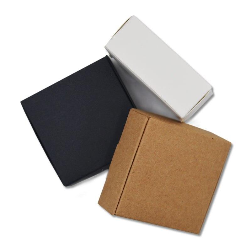 5 5 5x5 5x2 5 Cm Noir Kraft Papier Cadeau Boites Noir Papier D