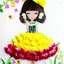 April Du children diy Flower painting handmade creative flower paste with photo frame kindergarten kit,6pcs
